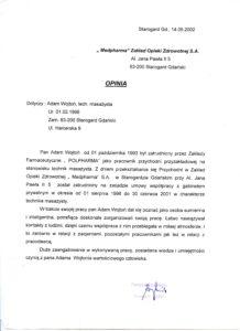 Referencje dla masażysty Adam Wojtonia wystawione przez MEDPHARMA ZOZ w Starogardzie Gd.