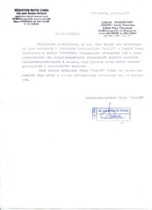 Referencje dla masażysty Adama Wojtonia wystawione przez ZP Pakmet Janusz Paturalski w Starogardzie Gd.
