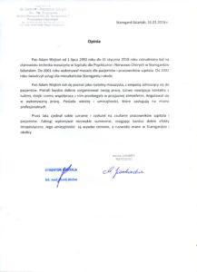 Referencje dla masażysty Adama Wojtonia wystawione przez Szpital dla Nerwowo i Psychicznie Chorych w Starogardzie Gdańskim